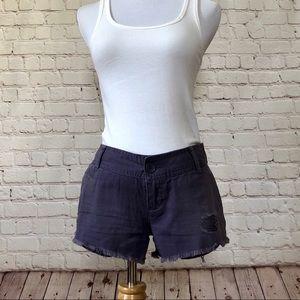 Purple Frayed Shorts